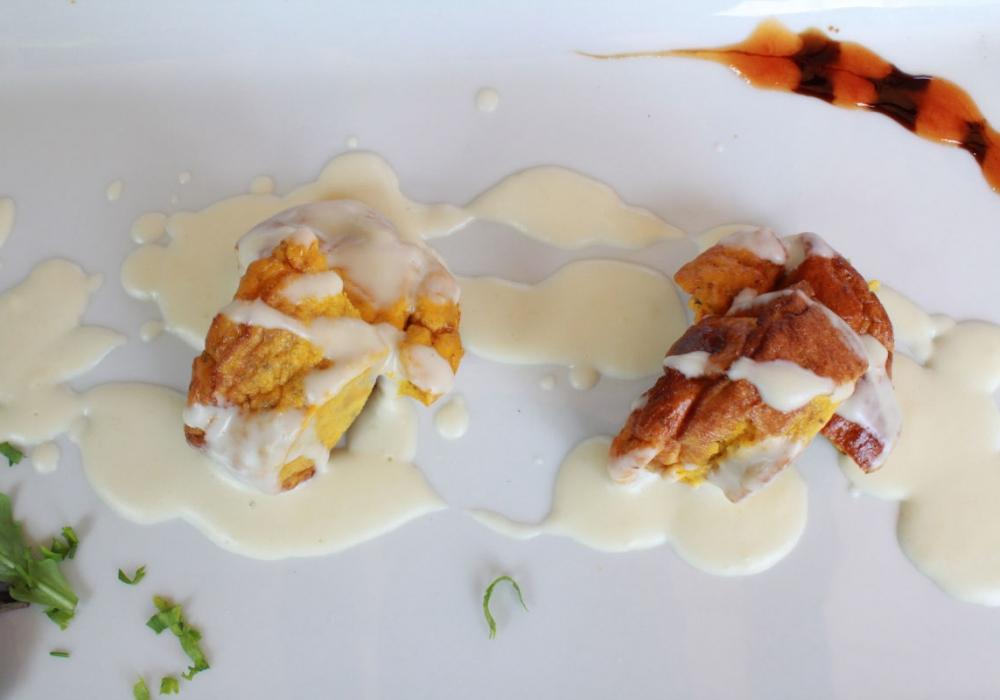 Sformatino con porcini e speck di Asiago, su crema di formagi del Grappa